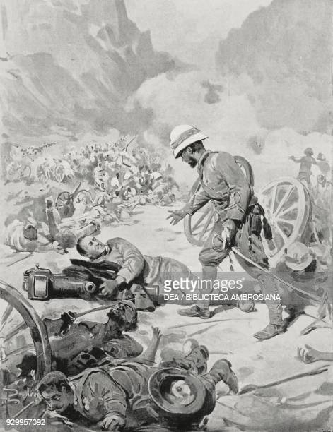 Sergeant Pannocchia dying while hugging his cannon, Battle of Adwa, Italo-Abyssinian War, Ethiopia, drawing by Dante Paolocci, from L'Illustrazione...