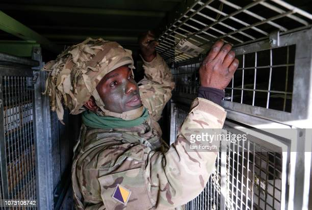 Sergeant Samuel AppiahKubi checks stores equipment as troops from 4 Regiment Royal Logistic Corps deploy to the Port of Hartlepool as they take part...