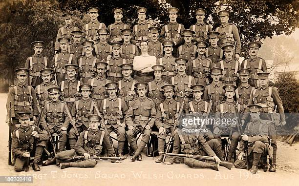 Sergeant T Jones and his Squad of the Welsh Guards during World War One circa August 1915