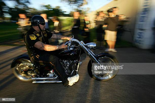 SergeantatArms of the Commoncheros bikie gang arrives for a meeting of the NSW Bikers Council during a media call at the Rebel's Clubhouse on April...