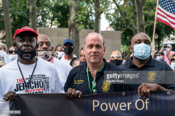Sergeants Benevolent Association president Ed Mullins attends the Jericho The Power of Prayer rally and march against gun violence at Cadman Plaza....