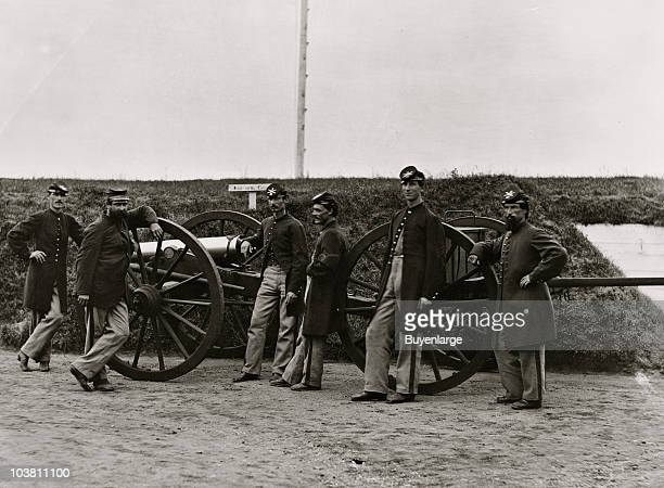 Sergeants of the 3rd Massachusetts Heavy Artillery with gun and caisson at Fort Totten Washington DC 1865