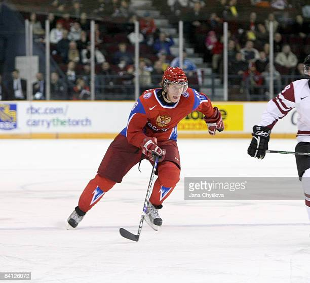Sergei Andronov of Russia skates in a game against Latvia and was named the player of the game for Russia at the Civic Centre on December 26, 2008 in...