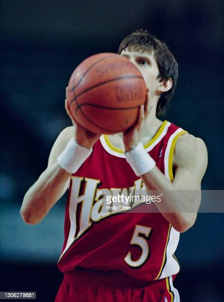 Sergei Bazarevich, Point Guard for the Atlanta Hawks prepares to make a free throw shot during the NBA Pacific Division basketball game against the...