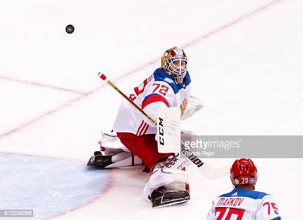 Sergei Bobrovsky follows the puck after making a save during the World Cup of Hockey at the semifinal game during the World Cup of Hockey tournament...