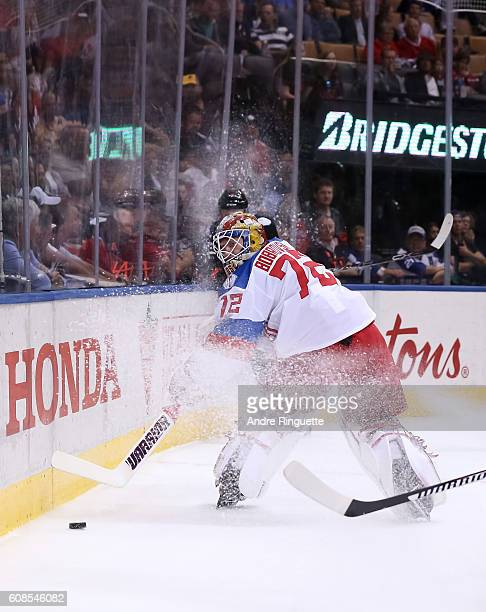 Sergei Bobrovsky of Team Russia plays the puck against Team North America during the World Cup of Hockey 2016 at Air Canada Centre on September 19...