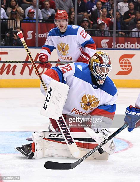 Sergei Bobrovsky of Team Russia reaches for a glove save against Team North America during the World Cup of Hockey 2016 at Air Canada Centre on...