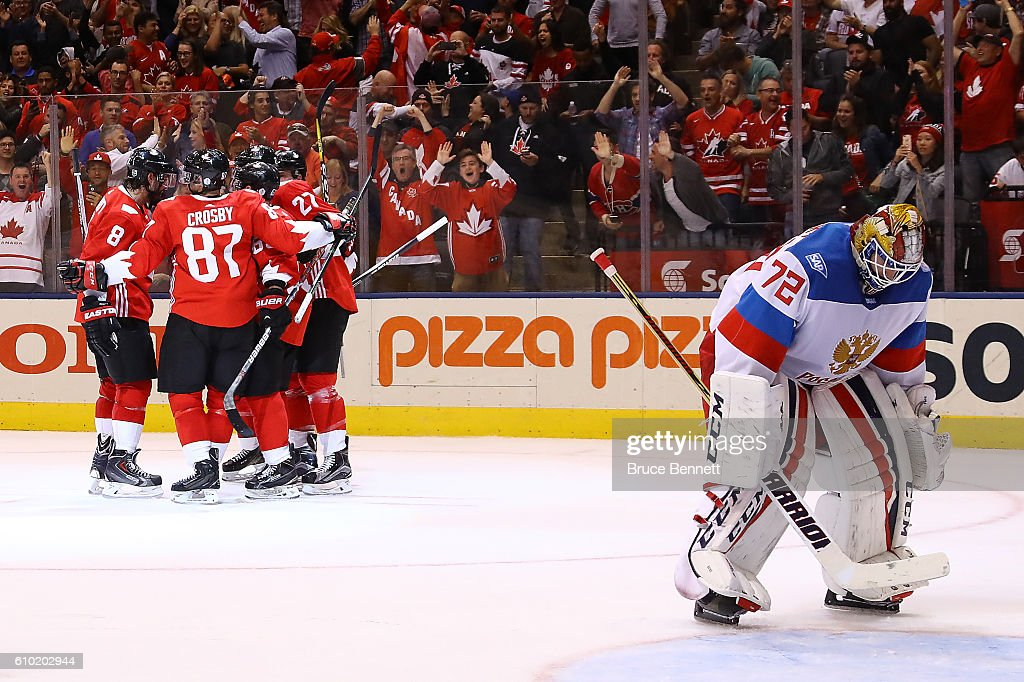 Sergei Bobrovsky #72 of Team Russia reacts as Brad Marchand #63 of Team Canada is congratulated by his teammates after scoring a second period goal at the semifinal game during the World Cup of Hockey tournament at Air Canada Centre on September 24, 2016 in Toronto, Canada.