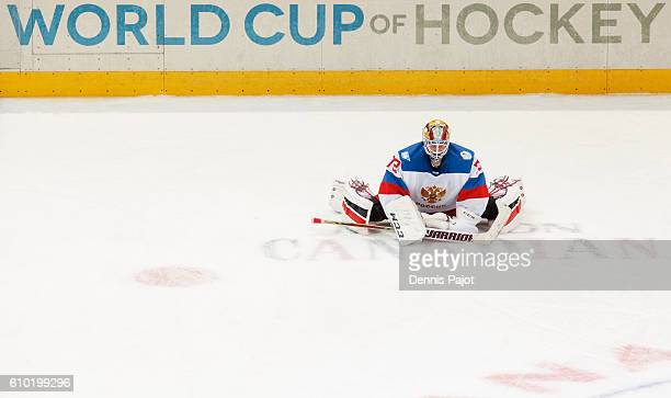 Sergei Bobrovsky of Team Russia warms up prior to a game against Team Canada at the semifinal game during the World Cup of Hockey tournament at the...