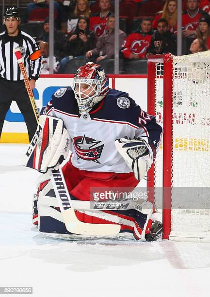 Sergei Bobrovsky of the Columbus Blue Jackets defends his net against the New Jersey Devils during the gme at Prudential Center on December 8 2017 in...