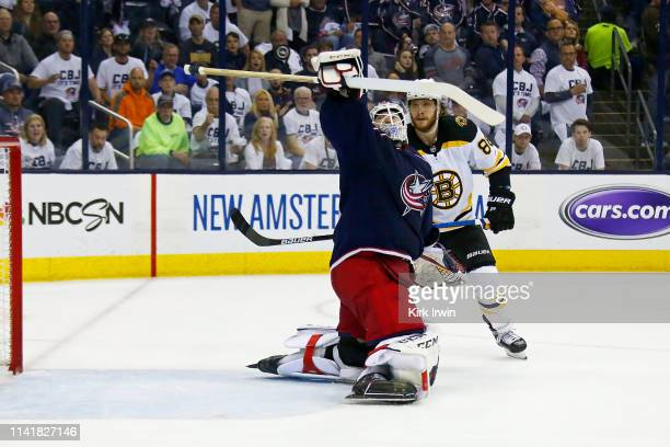 Sergei Bobrovsky of the Columbus Blue Jackets deflects a shot over the net during the first period against the Boston Bruins in Game Six of the...