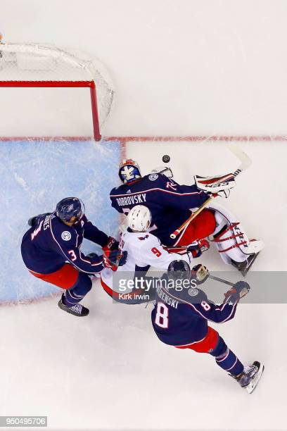 Sergei Bobrovsky of the Columbus Blue Jackets dives on a loose puck in Game Four of the Eastern Conference First Round during the 2018 NHL Stanley...