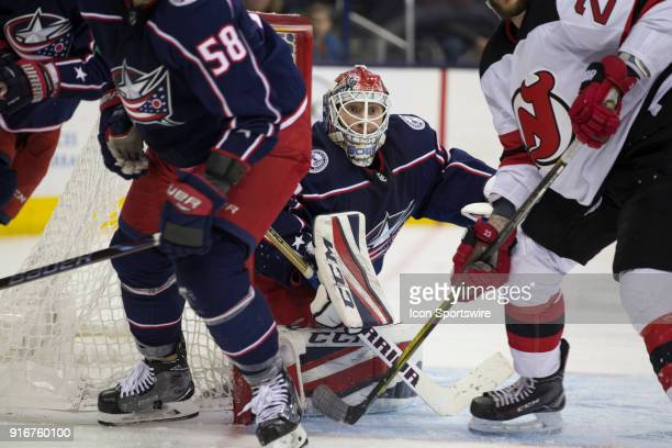 Sergei Bobrovsky of the Columbus Blue Jackets follow the play during the third period of the game between the Columbus Blue Jackets and the New...