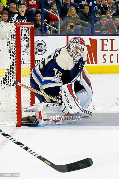 Sergei Bobrovsky of the Columbus Blue Jackets follows the puck during the game against the Ottawa Senators on January 19 2017 at Nationwide Arena in...