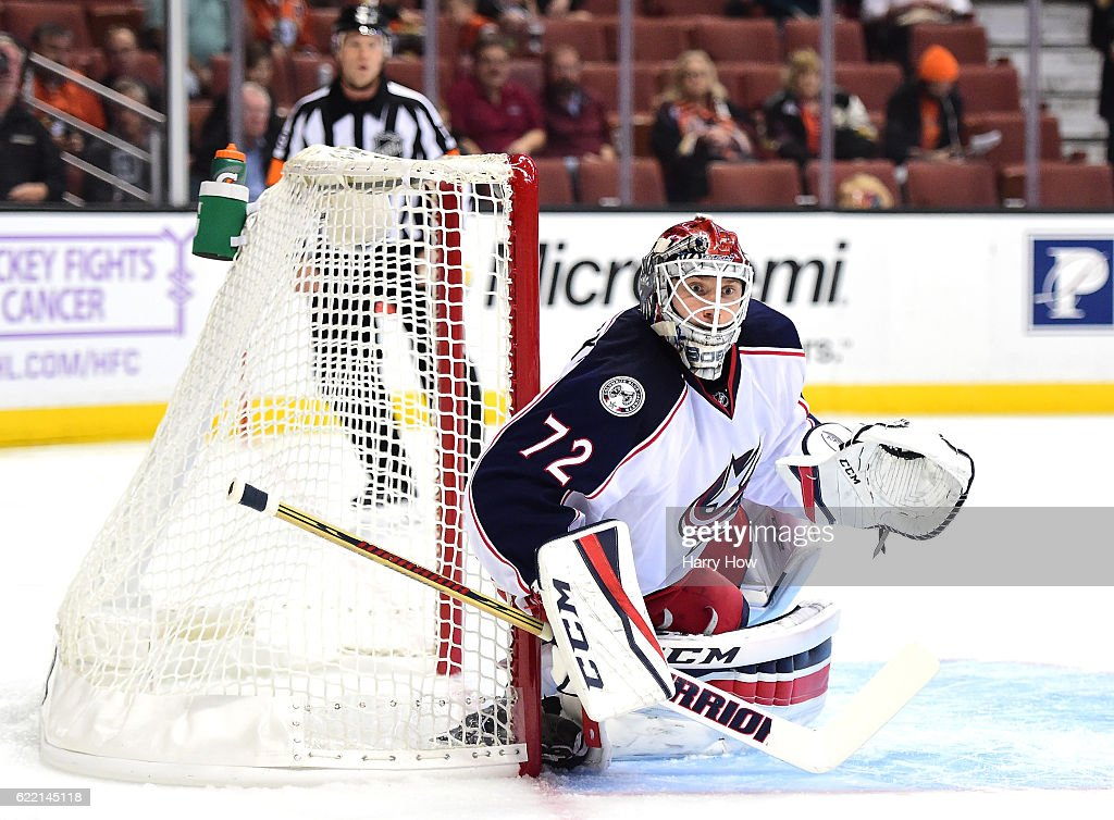 Sergei Bobrovsky #72 of the Columbus Blue Jackets in goal during the third period of a 4-0 win over the Anaheim Ducks at Honda Center on October 28, 2016 in Anaheim, California.