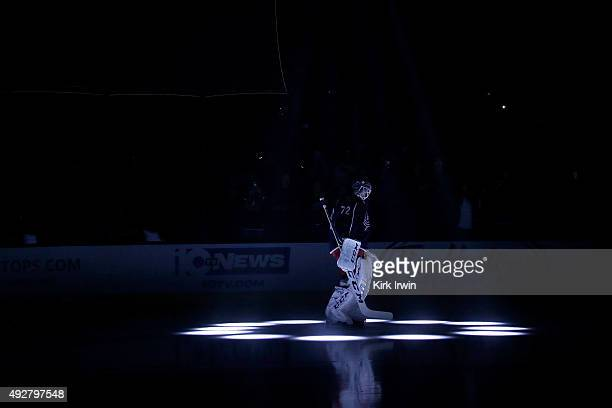 Sergei Bobrovsky of the Columbus Blue Jackets is announced to the crowd prior to the start of the game against the New York Rangers on October 9 2015...