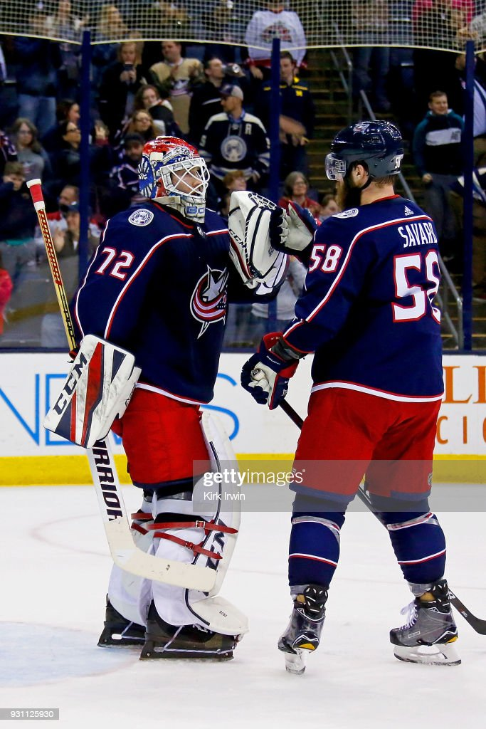 Sergei Bobrovsky #72 of the Columbus Blue Jackets is congratulated by David Savard #58 of the Columbus Blue Jackets after defeating the Montreal Canadiens 5-2 on March 12, 2018 at Nationwide Arena in Columbus, Ohio.