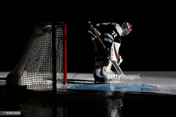 Sergei Bobrovsky of the Columbus Blue Jackets is introduced to the crowd prior to the start of the game against the Pittsburgh Penguins on February...
