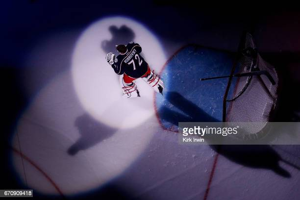 Sergei Bobrovsky of the Columbus Blue Jackets is spot lit prior to being introduced to the crowd before the start of Game Four of the Eastern...
