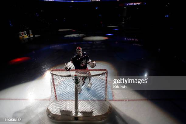 Sergei Bobrovsky of the Columbus Blue Jackets is spotlit before playing against the Boston Bruins in Game Four of the Eastern Conference Second Round...