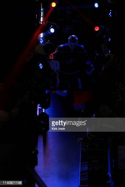 Sergei Bobrovsky of the Columbus Blue Jackets leads his teammates out onto the ice for pregame warmups before playing against the Boston Bruins in...