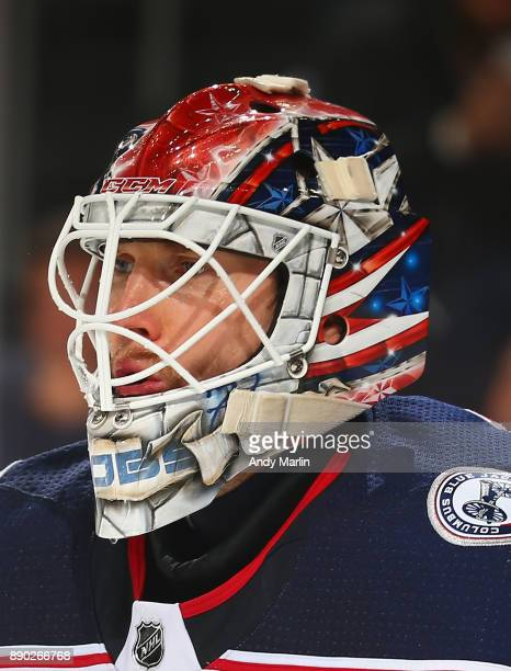 Sergei Bobrovsky of the Columbus Blue Jackets looks on against the New Jersey Devils during the gme at Prudential Center on December 8 2017 in Newark...