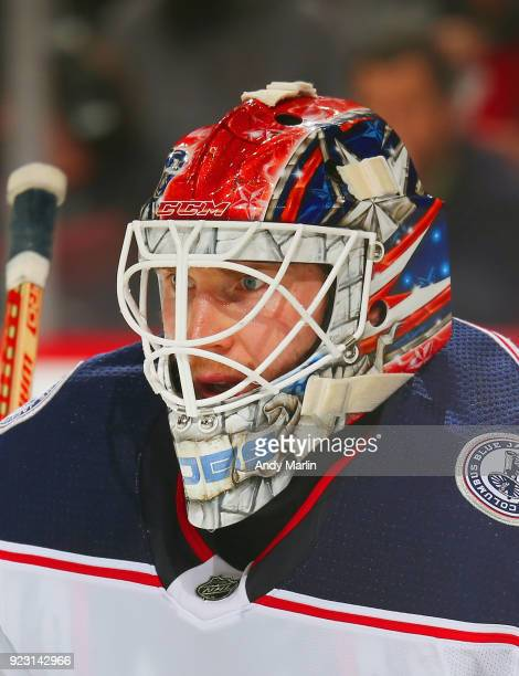 Sergei Bobrovsky of the Columbus Blue Jackets looks on during the game against the New Jersey Devils at Prudential Center on February 20 2018 in...
