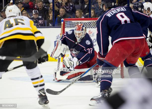Sergei Bobrovsky of the Columbus Blue Jackets makes a glove save during second period of the game between the Columbus Blue Jackets and the...