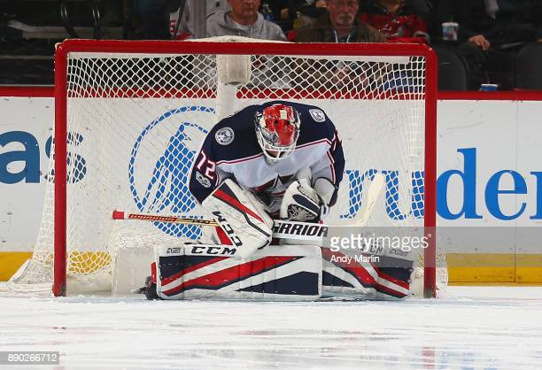 Sergei Bobrovsky of the Columbus Blue Jackets makes a save against the New Jersey Devils during the gme at Prudential Center on December 8 2017 in...