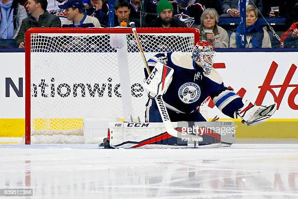Sergei Bobrovsky of the Columbus Blue Jackets makes a save during the game against the Ottawa Senators on January 19 2017 at Nationwide Arena in...
