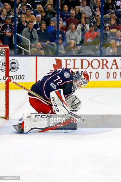 Sergei Bobrovsky of the Columbus Blue Jackets makes a save during the game against the Minnesota Wild on March 2 2017 at Nationwide Arena in Columbus...