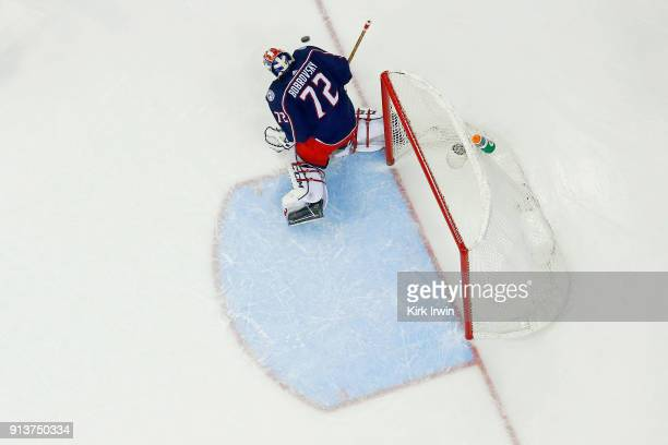 Sergei Bobrovsky of the Columbus Blue Jackets makes a save during the game against the Minnesota Wild on January 30 2018 at Nationwide Arena in...