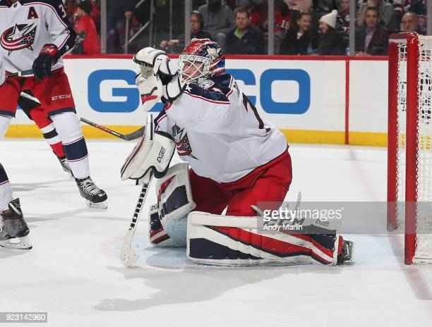 Sergei Bobrovsky of the Columbus Blue Jackets makes a save during the game against the New Jersey Devils at Prudential Center on February 20 2018 in...