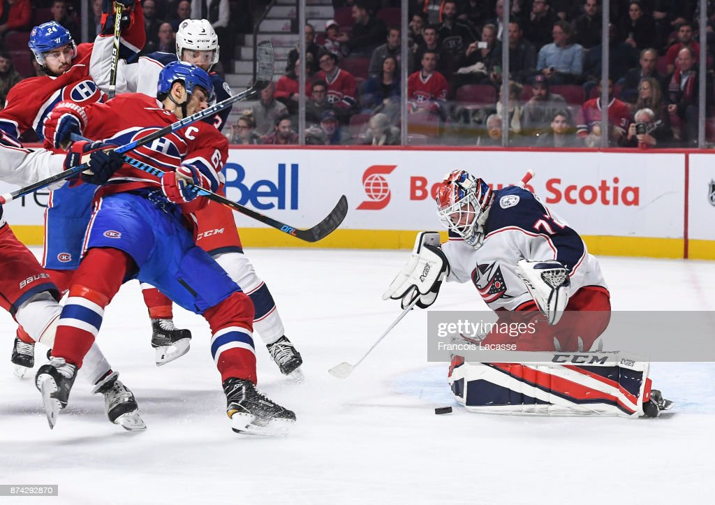 Sergei Bobrovsky #72 of the Columbus Blue Jackets makes a save in front of Max Pacioretty #67 of the Montreal Canadiens in the NHL game at the Bell Centre on November 14, 2017 in Montreal, Quebec, Canada.