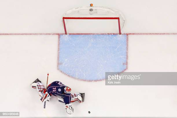 Sergei Bobrovsky of the Columbus Blue Jackets makes a save in Game Four of the Eastern Conference First Round during the 2018 NHL Stanley Cup...
