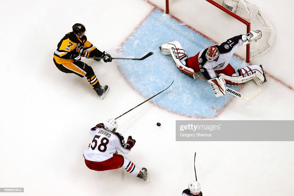 Sergei Bobrovsky #72 of the Columbus Blue Jackets makes a save on a shot by Matt Cullen #7 of the Pittsburgh Penguins in Game Two of the Eastern Conference First Round during the 2017 NHL Stanley Cup Playoffs at PPG Paints Arena on April 14, 2017 in Pittsburgh, Pennsylvania. Pittsburgh won the game 4-1 to take a 2-0 series lead.