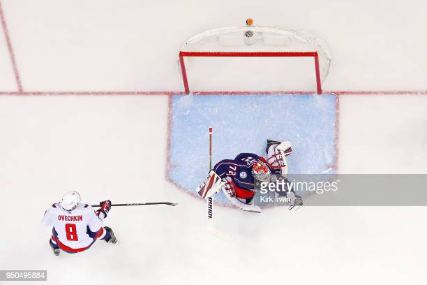 Sergei Bobrovsky of the Columbus Blue Jackets makes a save on Alex Ovechkin of the Washington Capitals in Game Four of the Eastern Conference First...