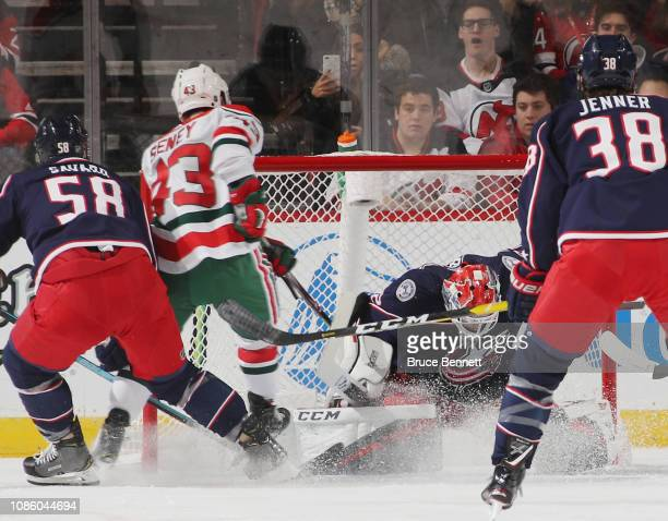 Sergei Bobrovsky of the Columbus Blue Jackets makes the first period save against Brett Seney of the New Jersey Devils at the Prudential Center on...