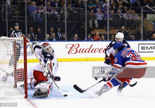 Sergei Bobrovsky of the Columbus Blue Jackets makes the second period save on Mats Zuccarello of the New York Rangers at Madison Square Garden on...