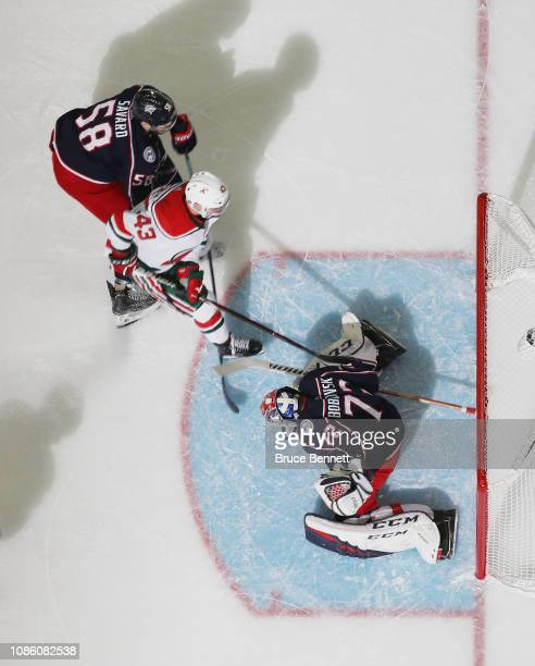 Sergei Bobrovsky of the Columbus Blue Jackets makes the third period save on v43 at the Prudential Center on December 23 2018 in Newark New Jersey...