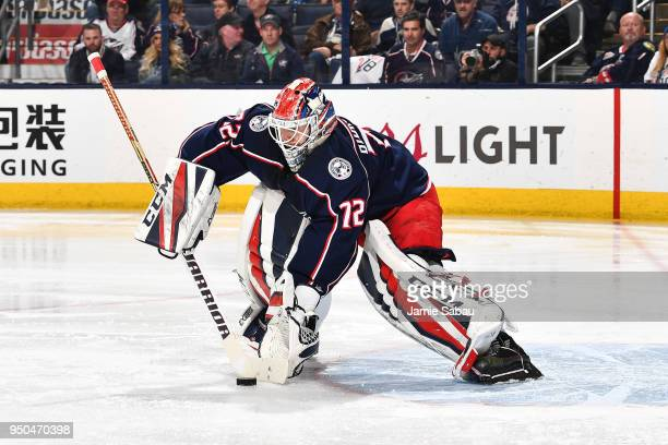 Sergei Bobrovsky of the Columbus Blue Jackets plays the puck during the second period in Game Six of the Eastern Conference First Round against the...