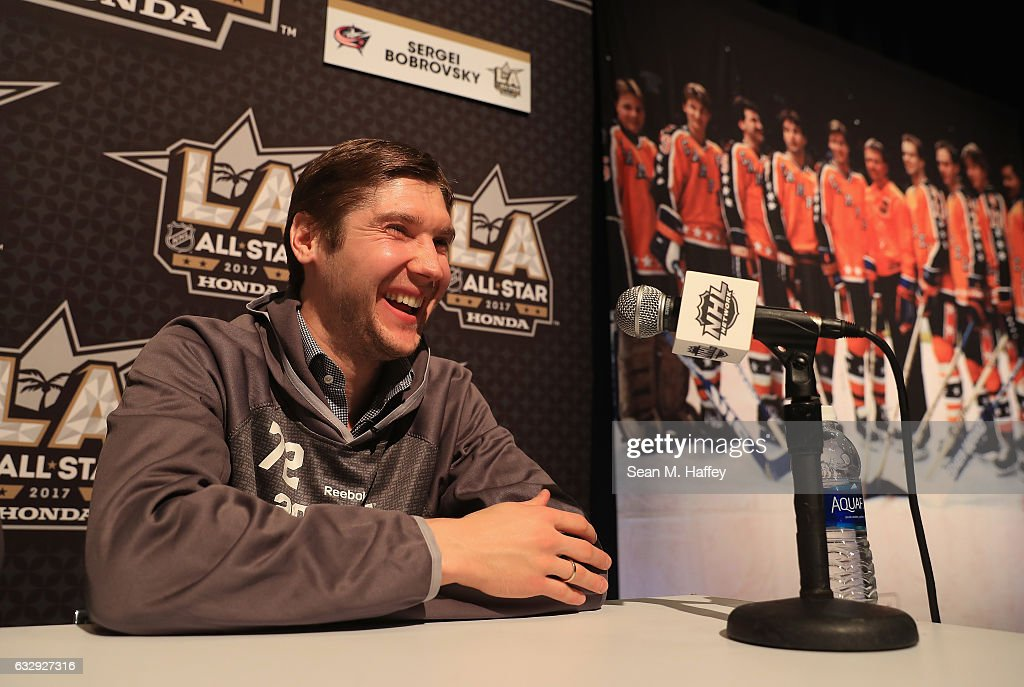 Sergei Bobrovsky #72 of the Columbus Blue Jackets reacts during 2017 NHL All-Star Media Day as part of the 2017 NHL All-Star Weekend at the JW Marriott on January 28, 2017 in Los Angeles, California.