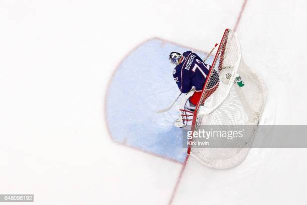 Sergei Bobrovsky of the Columbus Blue Jackets readies himself for the start of the game against the Minnesota Wild on March 2 2017 at Nationwide...