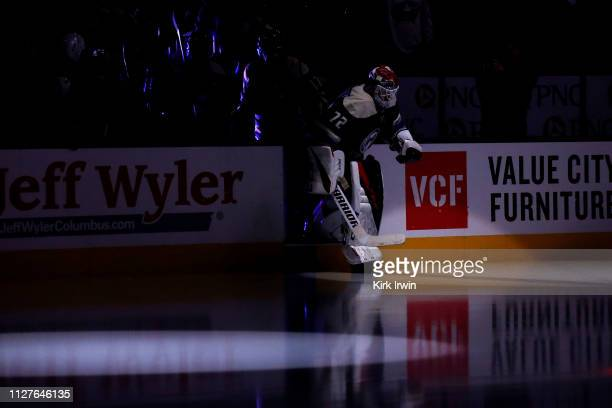 Sergei Bobrovsky of the Columbus Blue Jackets steps onto the ice for warmups prior to the start of the game against the Pittsburgh Penguins on...