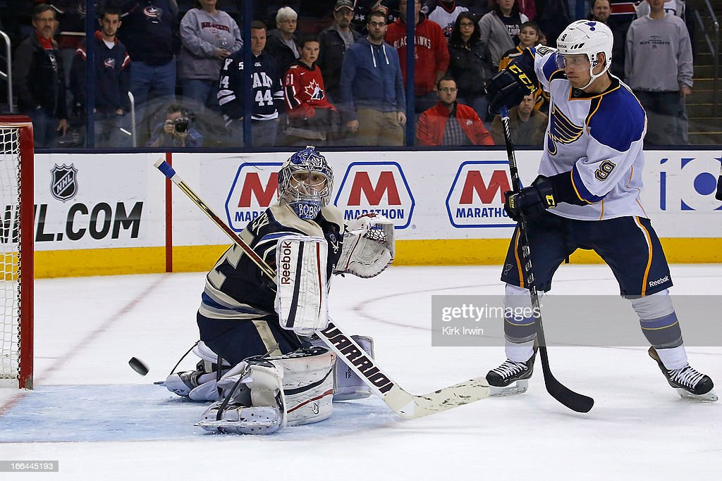 Sergei Bobrovsky #72 of the Columbus Blue Jackets stops a redirected shot from Jaden Schwartz #9 of the St. Louis Blues during the third period on April 12, 2013 at Nationwide Arena in Columbus, Ohio. Columbus defeated St. Louis 4-1.