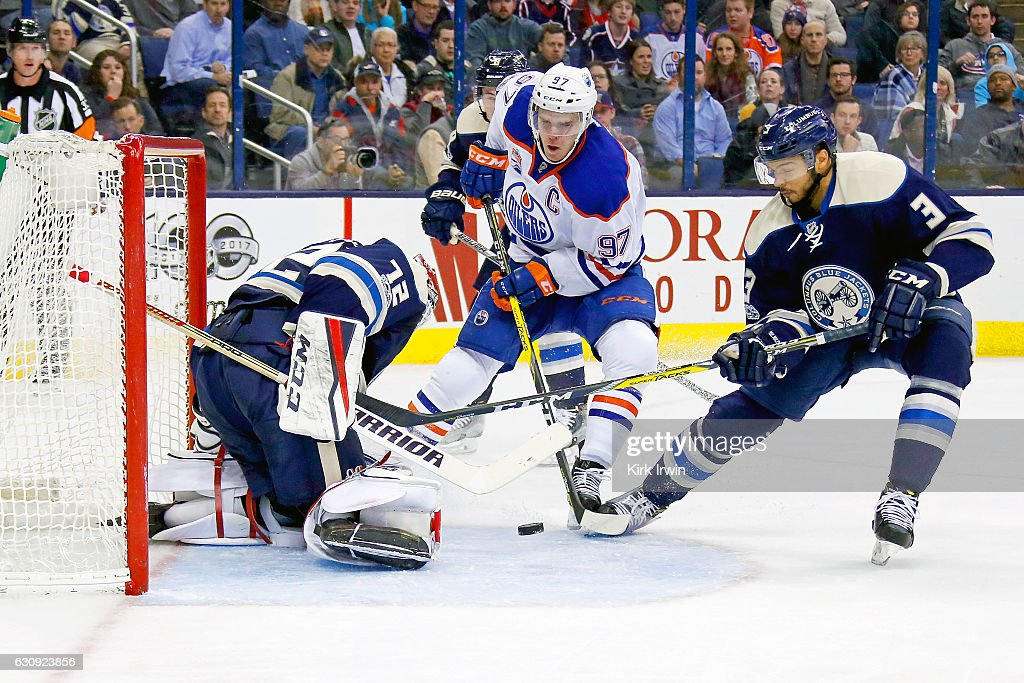 Sergei Bobrovsky #72 of the Columbus Blue Jackets stops a shot by Connor McDavid #97 of the Edmonton Oilers as Seth Jones #3 of the Columbus Blue Jackets looks to clean up the rebound during the third period on January 3, 2017 at Nationwide Arena in Columbus, Ohio. Columbus defeated Edmonton 3-1 to win their 16th consecutive game.