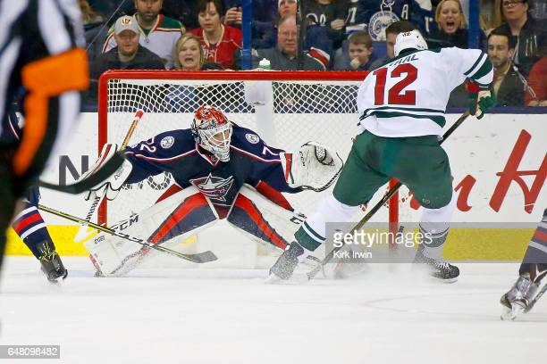 Sergei Bobrovsky of the Columbus Blue Jackets stops a shot by Eric Staal of the Minnesota Wild during the game on March 2 2017 at Nationwide Arena in...
