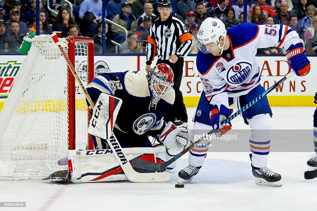 Sergei Bobrovsky #72 of the Columbus Blue Jackets stops a shot by Mark Letestu #55 of the Edmonton Oilers during the third period on January 3, 2017 at Nationwide Arena in Columbus, Ohio. Columbus defeated Edmonton 3-1 to win their 16th consecutive game.