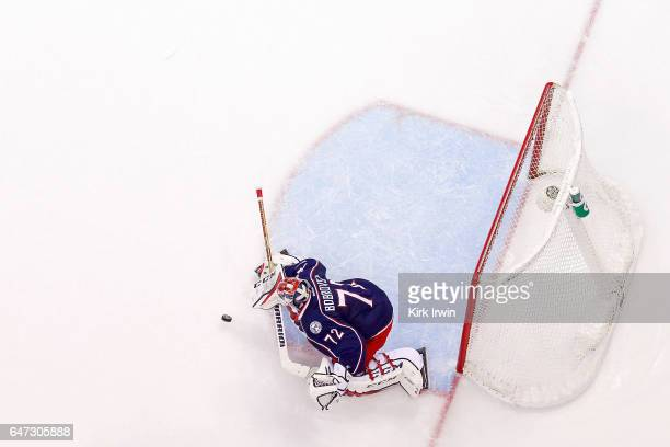 Sergei Bobrovsky of the Columbus Blue Jackets stops a shot during the third period of the game against the Minnesota Wild on March 2 2017 at...