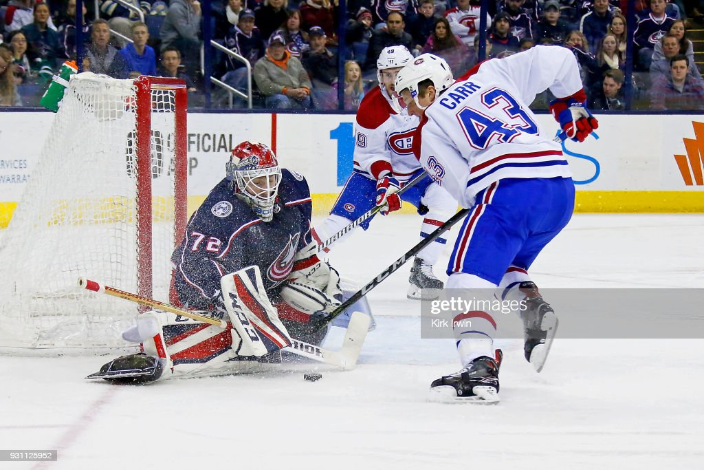 Sergei Bobrovsky #72 of the Columbus Blue Jackets stops a shot from Daniel Carr #43 of the Montreal Canadiens during the third period on March 12, 2018 at Nationwide Arena in Columbus, Ohio. Columbus defeated Montreal 5-2.